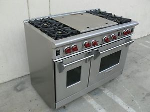 "Wolf R484CG 48"" 4 Burner Pro Style Commercial Range w Grill Griddle Stove"