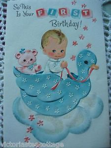 Vintage Greeting Card 'First Birthday' Baby Boy Girl Child Teddy Bear Duck