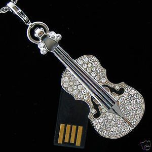 USB 4GB Flash Memory Drive Necklace Violin Rhodium Swarovski Crystal 60130002