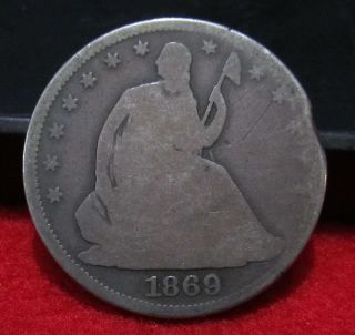 1869 Seated Half Dollar Better Date Nice Patina Filler Coin See Pictures