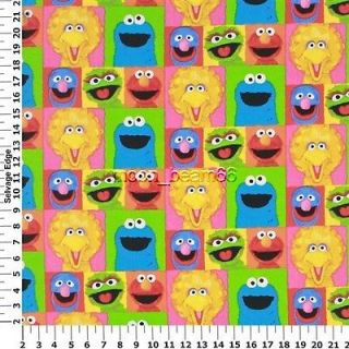 Sesame Street Character Face Patches Cotton Fabric Elmo Big Bird Cookie Monster