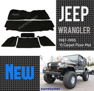 87 95 Jeep Wrangler YJ Carpet Floor Mat Full Set Heel Pad Black