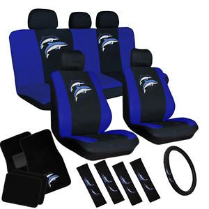 15pc Set Seat Covers Blue Purple Dolphin Ocean Floor Mats Wheel Belt Head Pads