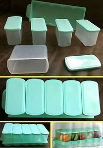 Set of 5 Fridge Freezer Food Storage Containers Airtight Tubs Tray Kitchen Aid