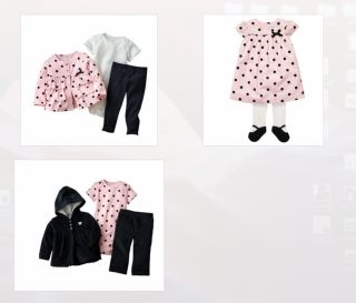 Carters Baby Girl Clothes Blushing Pink Holiday Collection Set Dress Pink Black