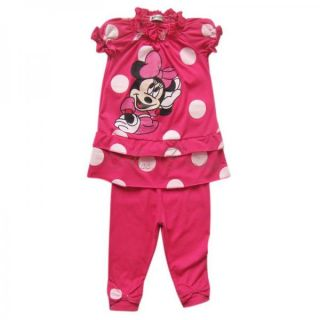 Girl Kid Minnie Mouse Outfit Polka Dots Top Dress Leggings Pants 2pc Sets Sz 2 6