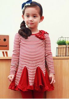 Lovely Kids Girls Stripe Dress and Leggings Pants Outfit Sets Age 2 7Years