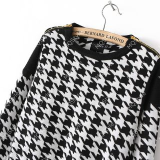 Womens Fashion Crewneck Houndstooth Long Sleeve Knit Pullover Sweaters B3197