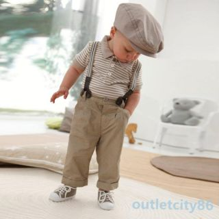 Boys 2pcs Gentleman Overalls Top Bib Pants Outfit Set 0 5Y Baby Toddler Clothes
