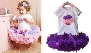 2pcs Girl Baby Kids Toddler Cake T Shirt Top Skirt Dresses Party Outfit Clothes