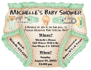 Unique Personalized Baby Shower Party Favor Diaper Invitations Thank You Cards