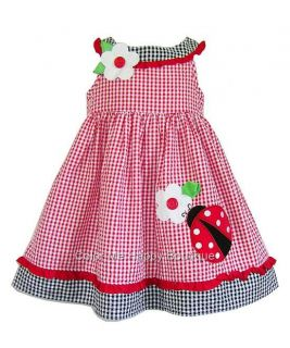 New Girls Sz 4T Red Black Ladybug Flower Dress Birthday Party Summer Clothes $34