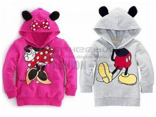 Toddler Girls Hoodie Coat Kids Minnie Mickey Mouse Bow T Shirt Costume Tail 2T 6