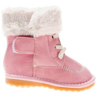 Girls Toddler Infants Childrens Leather Squeaky Boots Pink with Fleecy Inners