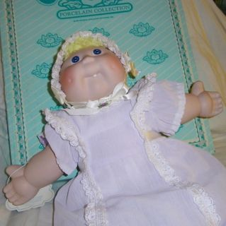 Vtg Cabbage Patch Kids Porcelain Baby w Tooth Doll