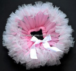 Pink White Party Costume Ballet Kids Dancing Girl Toddler Baby Tutu Skirt 0 5T