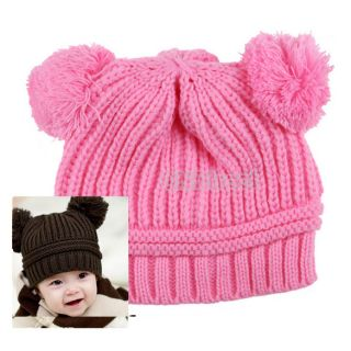 Fashion Korean Baby Lovely Dual Ball Girl Boy Wool Knit Sweater Winter Cap Hat