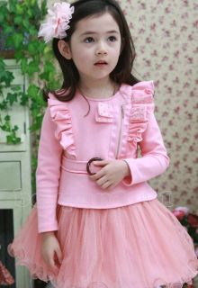 Lovely Kids Toddlers Girls Long Sleeve Zip Cotton Tulle Tutu Dress AGE2 9Y