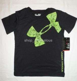 New Under Armour Logo Baby Boy HeatGear Black Tee T Shirt Top Clothes Sz 12M