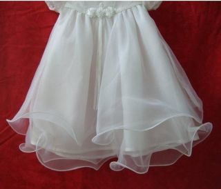 White Baby Flower Girl Christening Baptism Wedding Bridesmaid Party Dress 6 24mo