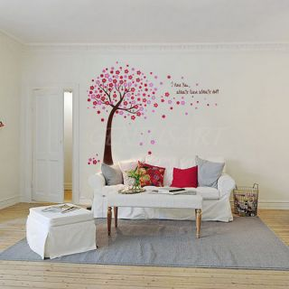 Home Bedroom Pink Cherry Blossom Flowers Tree Wall Sticker Art Decal Giant DIY