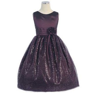 Sweet Kids Girls Size 10 Plum Starlight Sequin Mesh Christmas Dress