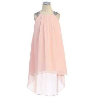 Sweet Kids Girl Size 10 Pink High Low Chiffon Easter Flower Girl Dress