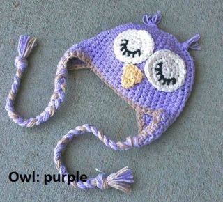 Newborn Large Baby Beanie Teddy Ears Flower Crochet Knit Girl Boy Photo Prop Owl