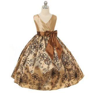 Kids Dream Little Girls 6 Brown Velvet Floral Flower Girl Dress