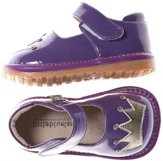 Girls Kids Toddler Infant Childrens Patent Leather Squeaky Shoes Purple Gold