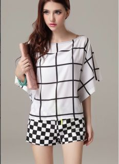 New Womens Fashion Grid Print Short Sleeve Loose Shorts Jumpsuits Rompers B2250