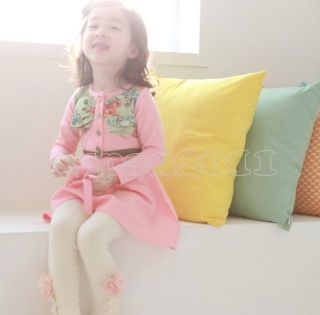Kids Girls Fashion Cute Princess Party Cotton Long Sleeve Dress with Belt sz2 7Y