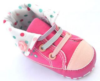 Pink High Top Infant Toddler Baby Girl Shoes Size 2 3 4