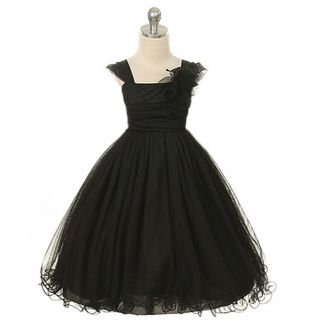 Kids Dream Girls 14 Black Double Layer Mesh Flower Girl Dress