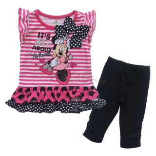 Kid Baby Toddlers Outfit Girl Minnie Mouse Top Dress Black Leggings 12M 18M 24M