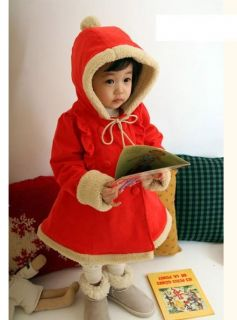 Baby Boy Girls Thermal Winter Cotton Fleece Christmas Outfit Coat Pant Hat 3pcs