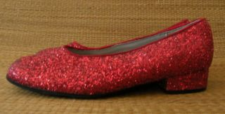 Red Glitter Sparkle Girls Dorothy Costume Shoes Flats Sz 2 5 Two and A Half