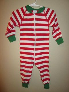 Hanna Andersson Baby Boys Girls Christmas Red White Striped Pajamas 70 cm 6 12