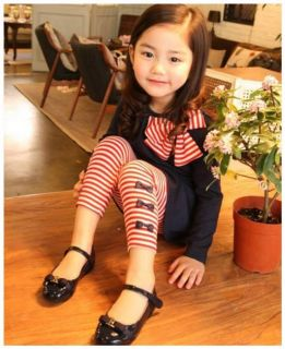 Girls Toddler Baby Clothes Striped Bow Shirt Leggings Kids Sets Suits 4 5years