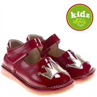 Girls Kids Toddler Infant Childrens Patent Leather Squeaky Shoes Red with Gold