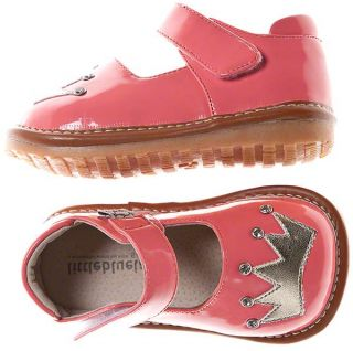 Girls Kids Toddler Infant Childrens Patent Leather Squeaky Shoes Pink with Gold