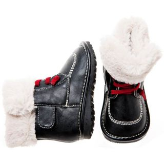 Girls Boys Toddler Childrens Leather Squeaky Boots Black with Fleecy Inners