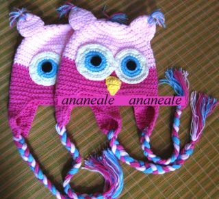 Toddler Baby Girls Boys Hat Owl Animal Crochet Winter Hand Knitted Beanie Beret