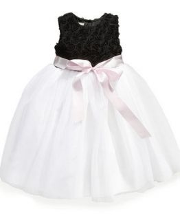 Marmellata Girls Black White Classic Tulle Rosette Soutache Ballerina Dress 2T