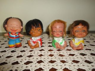 Vintage 1970's Rubber 4 Baby Dolls of Tears Laughter Made in Korea Imperial