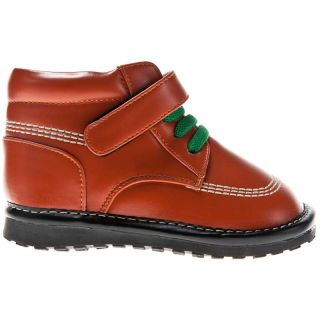 Girls Boys Toddler Childrens Leather Squeaky Ankle Boots Satin Burnt Orange
