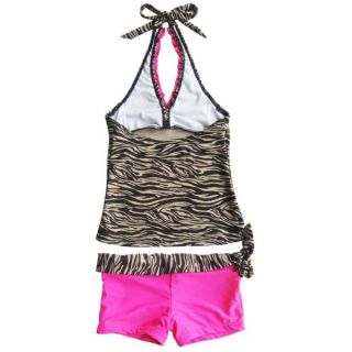 Girls Brown Zebra Halter Tankini Kids Swimsuit Swimwear Bathing Suit 8 10 12 14