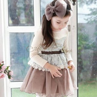 Girl Toddler Kid Long Sleeve Lace Party Tulle Dress Belt Bowknot Clothing Sz 3 7