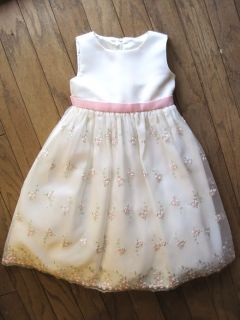 Girls Off White Party Dress Size 3T Wedding American Princess Pink Cardigan