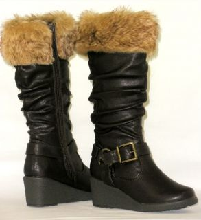 Girls Kids Tall Slouchy Buckle Boots Low Wedge Warm Faux Fur Youth Toddler Size